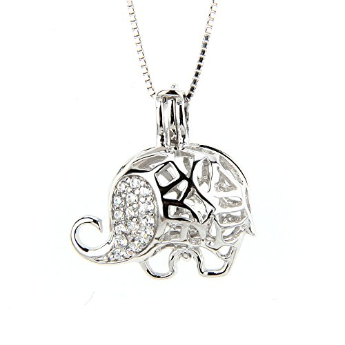 NY Jewelry 925 Sterling Silver CZ Elephant Pendants for Pearl, Design Pearl Cage Pendants for Women Girls Gift DIY Jewelry -