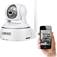 Wireless Camera, UOKOO 1280x720p Wireless Wifi Camera with 2-Way Audio Remote Wireless for Baby Monitor, Nanny Cam, Wireless IP Camera (White-720p)