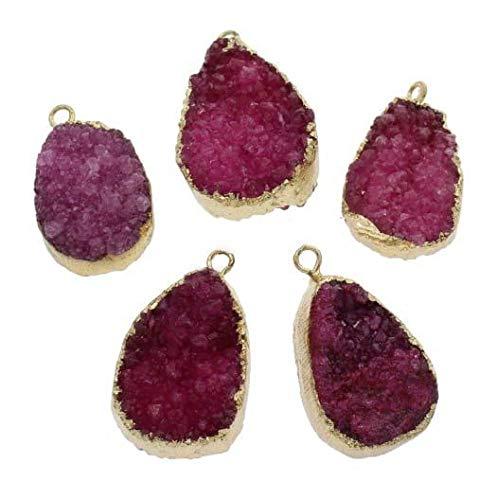 1pc Fuchsia Pink Crystal Gold Teardrop Druzy Ice Quartz Agate Natural Gemstone Plated Focal Pendant W Bail Bohemian Jewelry 30mm - 31mm Hole