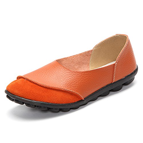 Blivener Womens Casual Flats Slip On Driving Shoes Leather Walking Loafers Orange qxoxPp