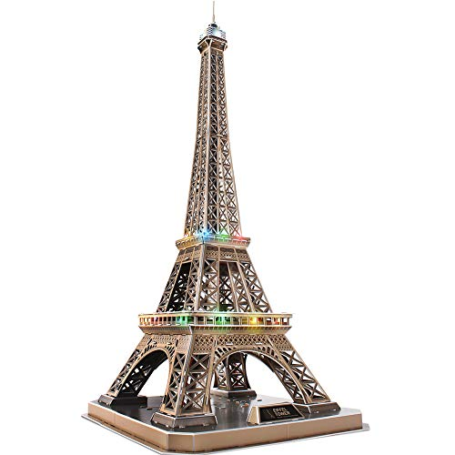 CubicFun 3D Architectural Paris Model Kits Puzzle Lighting Up in Night Edition, Eiffel Tower France
