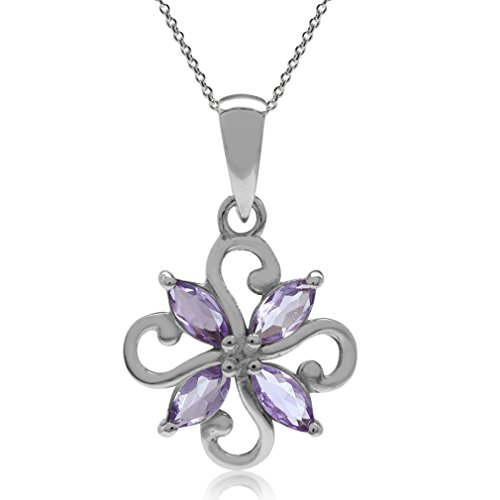 Silvershake Natural Amethyst 925 Sterling Silver Victorian Style Flower Pendant with 18 Inches Chain Necklace