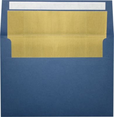 A7 Invitation Lined Envelopes (5 1/4 x 7 1/4) - Navy Blue w/Gold LUX Lining (250 Qty) | Perfect for Invitations, Announcements, Sending Cards, 5x7 Photos | Printable | 80lb Paper | FLNV4880-04-250