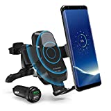 RAVPower Qi Wireless Car Fast Charger 7.5W / 10 W Phone Holder Car Vent Electric Lock Release Compatible with iPhone Xs Max XR X 8 Plus Galaxy S9 S8 Note 9 8 - Car Charger Included (Enhanced Clips)