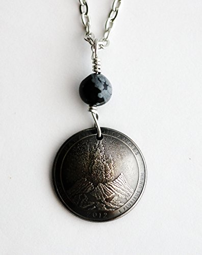 Hawaii Volcanoes National Park Quarter Coin Necklace Obsidian Stone Pendant 2012