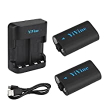 Xbox One Battery Pack by YiVine - 2500mAH NI-MH Battery Pack for Xbox One / Xbox One X / Xbox One S/ Xbox one Elite Wireless Controller with Smart Dual Charger