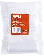 APLI Kids 13128 - Pack de 100 bolsas de plástico con autocierre, 100 x 150 mm