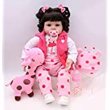 PURSUEBABY Soft Floppy Body Real Life Baby Girl Doll with Curly Hair Tania, 22 Inch Lifelike Reborn Toddler Infant Doll Toy Snuggle Children Gift