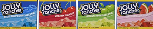 Jolly Rancher Jello: 1 Green Apple, 1 Cherry, 1 Watermelon, 1 Blue Raspberry, 2.79oz Box (Pack of 4) ()