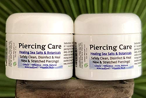 Urban ReLeaf Piercing Care Set of 2 ! Healing Sea Salts, Botanical AFTERCARE ! Safely Clean, Heal New Stretched Piercings. Gentle Effective Non-iodized. Vitamin Rich. Dead Sea Salt & Botanicals