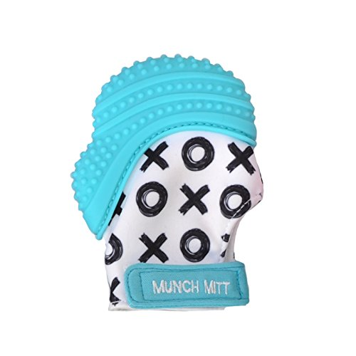 Munch Mitt Teething Mitten the Original Mom Invented Teething Toy- Teether Stays on Babys Hand for Pain Relief & Stimulation- Ideal Baby Shower Gift with Handy Travel/Laundry Bag- Aqua Blue - Original Online