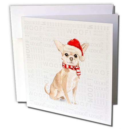 3dRose Doreen Erhardt Christmas Collection - Christmas Chihuahua in a Red Santa Hat and Striped Scarf - 12 Greeting Cards with envelopes (gc_299898_2)