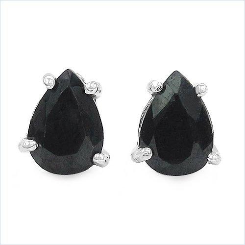 Bijoux Schmidt-Noir saphir boucles d'oreilles goutte Argent Rhodium 1,70 carats