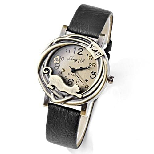 Women's Fashion Vintage Bronze Case Cat & Flower Quartz Analog Wrist Watch (Black)