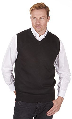 Mens Pierre Roche Plus Size Sleeveless Knitted Tank Top Jumper (3XL, Black) by Pierre Roche