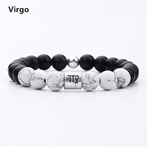 Natural Stone Beaded Bracelets Twelve Constellations Magnesite Beads Bracelet Women Men DIY Accessories Gift Dropshipping