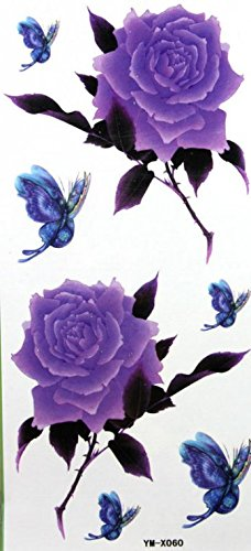 GRASHINE Purple rose and butterfly fake and realistic temporary (Purple Butterfly Tattoo)