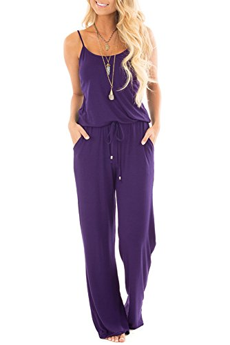(sullcom Women Summer Solid Sleeveless Wide Leg Jumpsuit Casual Spaghetti Strap Stretchy Long Pant Rompers (Medium, Purple))