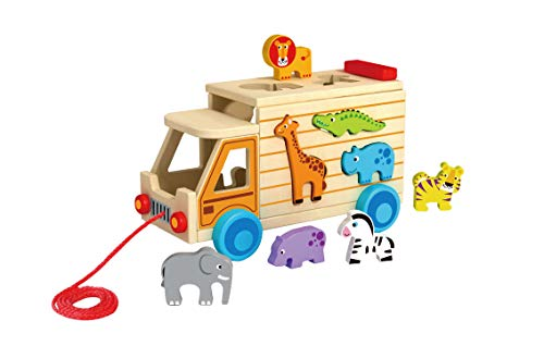 TOYSTER'S Wooden My Little Animal Truck Shape Sorter Toy | Push Pull Safari Sorting Toys for Toddlers | Learning Resources Animals | Preschool Educational Toy Helps Improve Fine Motor Skills