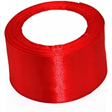 """Model Worker 2"""" Wide Red Solid Satin Ribbon 25 Yards"""