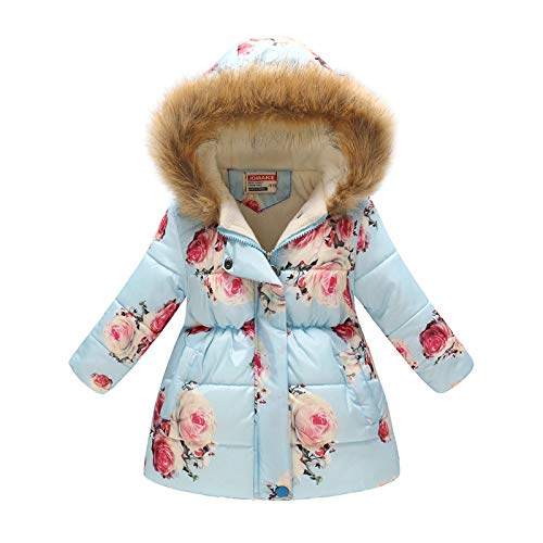 (Miss Bei Girl's Kids Toddler Winter Flower Print Parka Outwear Warm Cotton Coat Hooded Jacket Blue Pink flower120)