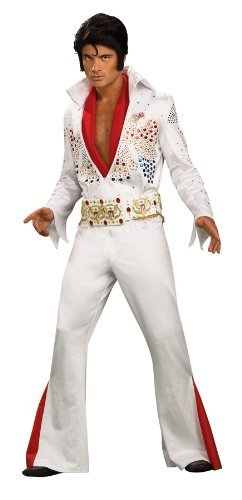 Elvis Super Deluxe Grand Heritage Costume, White, - White Costume Elvis