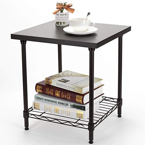 2-Tier End Table, YOHKOH Nightstand Small Coffee Table with Adjustable Storage Metal Shelf, Sturdy Square-Frame Wood Look Side Table in Living Room Bedroom, Brown ()