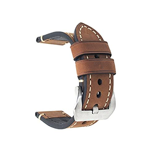 Brown 20mm Genuine Leather Wristwatch Watch Band Oil Tan Vintage Watchband for Men with Stainless (Mens Leather Watches Small)