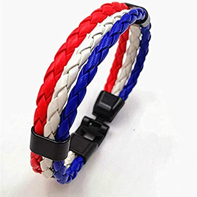 ZUOZUO Leather Wristband 3-Layer Woven Leather Soccer Bracelet Charm Punk Rock Men S Wristband Jewelry Estimated Price £18.99 -