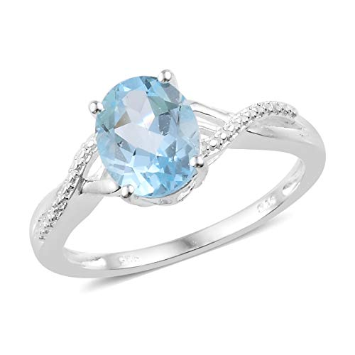 925 Sterling Silver Oval Sky Blue Topaz Solitaire Ring for Women Jewelry Gift Size 10 Cttw ()