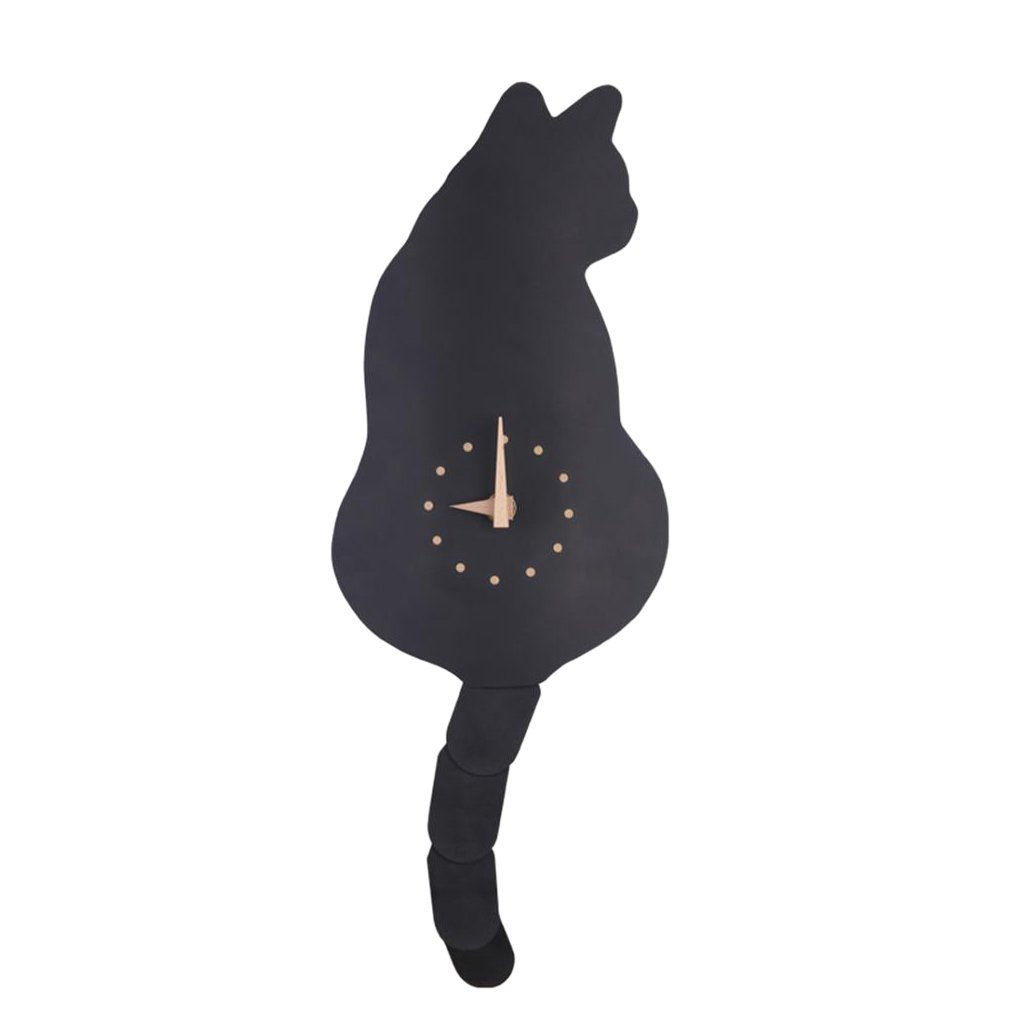 Fenteer Wall Clock for Cat Kitten Fans Adorable Room Decoration Perfect Gift for Moving for Kitchen for Adults/Kids Black