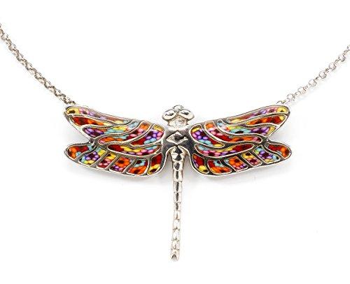 Parure bijoux Libellule d'Argent - Collier et Boucles d'oreilles Millefiori Multicolore Festif
