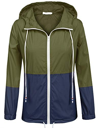 SoTeer Raincoats Waterproof Lightweight Rain Jacket Active Outdoor Hooded Women's Windbreaker (Army Green/Navy Blue M)
