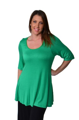 24seven Comfort Apparel Plus Size Clothing for Women Elbow Length Short Sleeve Tunic Tops Shirts - Made in USA - 3X-Large - Grass