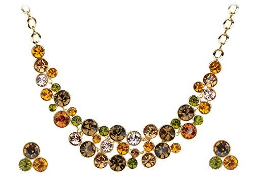 - Alilang Golden Tone Multicolored Rhinestones Colorful Bib Necklace Stud Earring Set