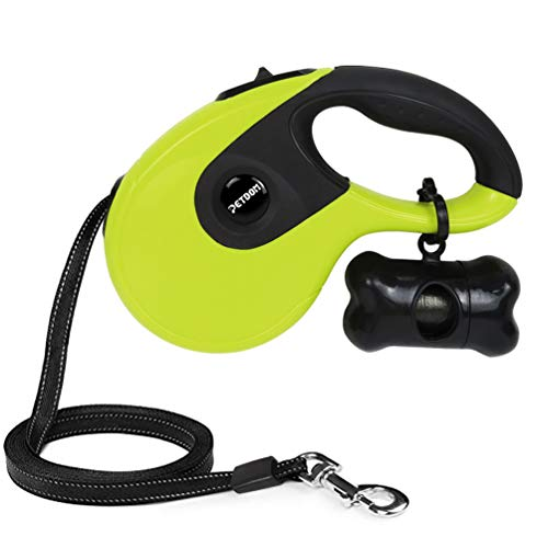 PETDOM Retractable Dog Leash - Heavy Duty Pet Leash for Medium Large Dogs Up to 110 lbs - 16 ft Nylon Reflective Tape, Tangle Free, One-Handed Brake, Pause, Lock - Large (Green)