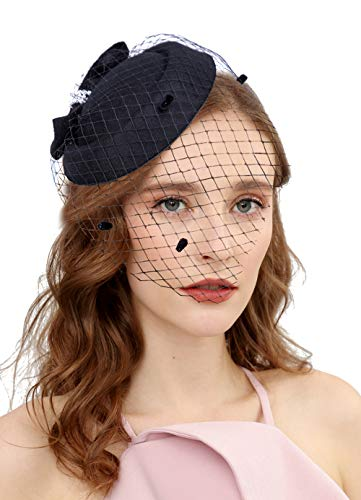(Vintage Fascinators 20s 50s Hat Pillbox Hat Cocktail Party Hat with Veil Hair Clip)