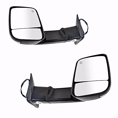 Gevog 1 Pair Power Heated Turn Signal+Puddle light Black Towing Mirrors for 09-17 Dodge Ram (Not for Diesel Models) Tow Mirrors Set