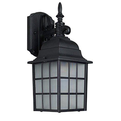 31 Black Outdoor Sconce (Sunset Lighting F7818-31 Outdoor Wall Sconce with Textured Frosted Glass, Black Finish)