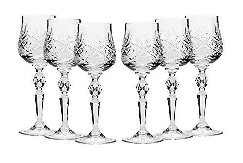 Neman Set of 6 Russian Cut Crystal Shot Glasses 2-Oz. Hand Made Vodka or Liquor Stemmed Vintage Glassware