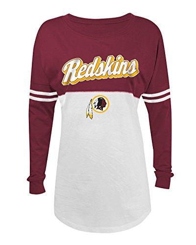 NFL Washington Redskins Women's Long Sleeve Varsity Crew Tee, Small, White