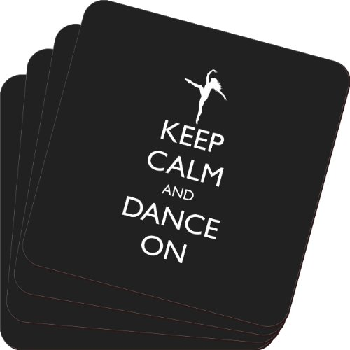 Rikki Knight Keep Calm and Dance on Black Color Design Soft Square Beer Coasters (Set of 2), Multicolor