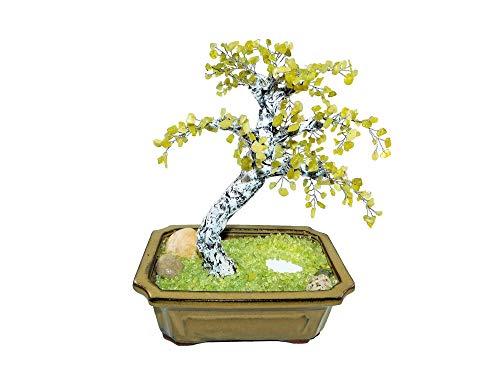 (26cm Serpentine New Jade Birch Bonsai with Pond in Ceramic Pot. Handmade Feng Shui Gem Tree. Office Decor)
