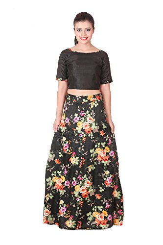 3869fec9c3 Outdazzle Designer Raw Silk Crop Top with A-Line Printed Skirt - Black:  Amazon.in: Clothing & Accessories