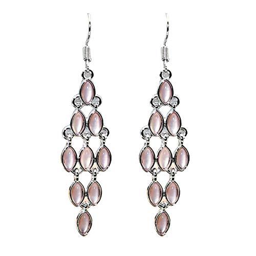 Lx10tqy Fashion Cat Eye Faux Moonstone Long Dangle Women Banquet Hook Earrings Party Jewelry Pink