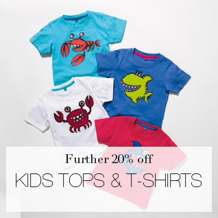 A further 20% off kids' tops & T-shirts