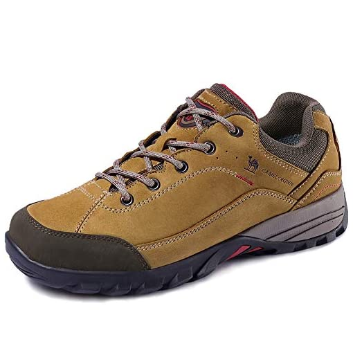 CAMEL CROWN Men'sWomen's Lightweight Breathable Leather Hiking Shoes for Outdoor Camping Trekking Exploring Walking