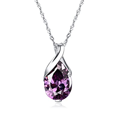 KUNEN S925 Silver Necklace Platinum Plated Teardrop Pendant Jewelry Amethyst Crystal Pendant Necklace, 18