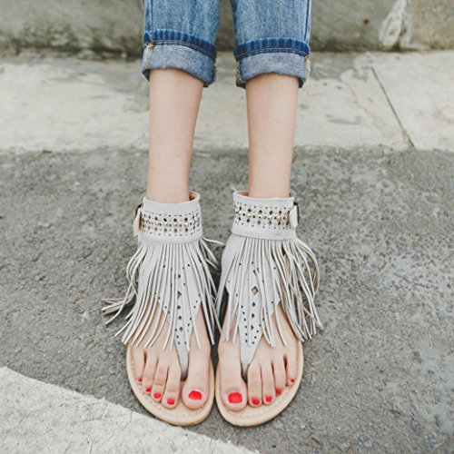 Ouneed® Flip Flops Damen Erwachsene Zehentrenner , Damen mode Summer Flower Girls Flip Flops Beach Sandals Bohemia Flat tassel Sandals (37, Gray)