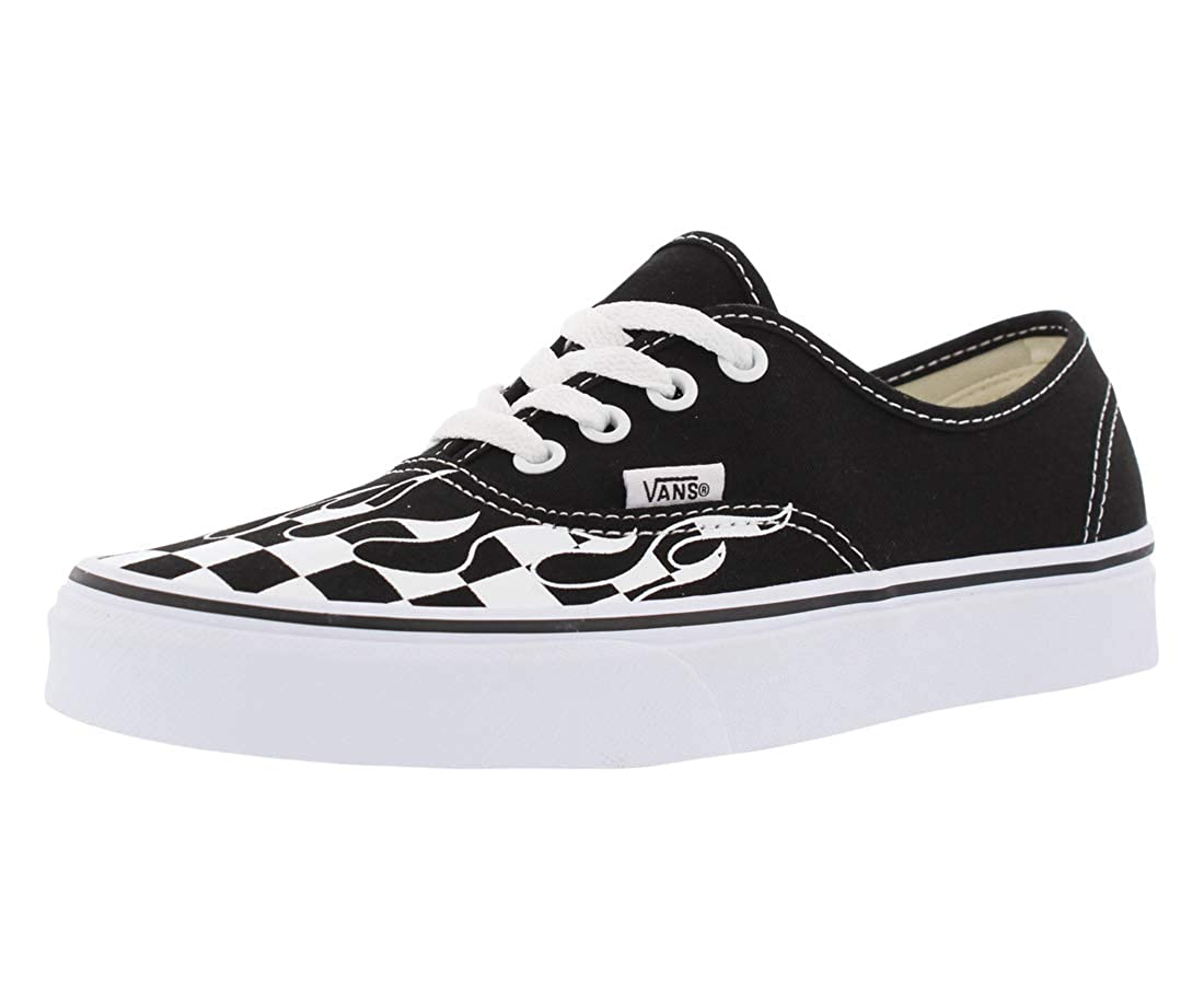 Vans Unisex Adults Authentic Checkerboard Flame Black & White Skate Shoes (10 M US Women 8.5 M US Men, (Checker Flame) Black/True White)